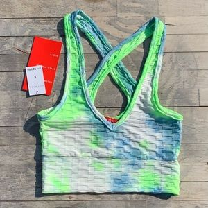 Hot Kiss Neon TieDye Crop Top Size Small